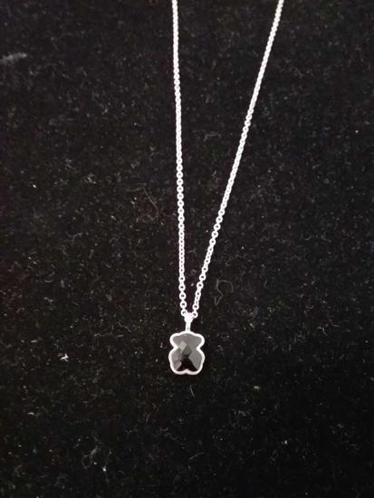 """Tous Designed Checkerboard Faceted Onyx Teddy Bear Sterling Silver Pendant w/ 16"""" Chain"""