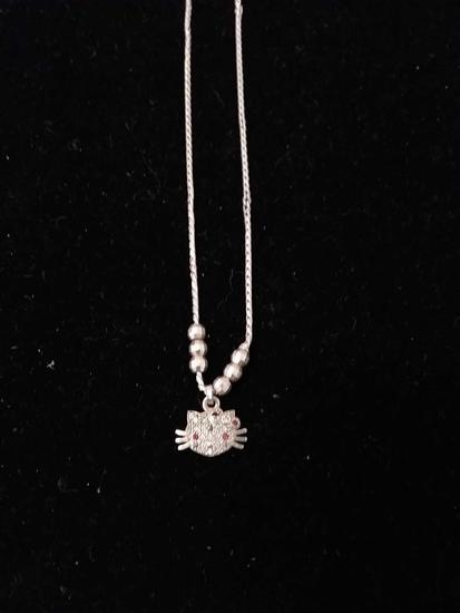 """Round Faceted Multi-Colored Gemstone Accented Hello Kitty Sterling Silver Pendant w/ 14"""" Chain No"""