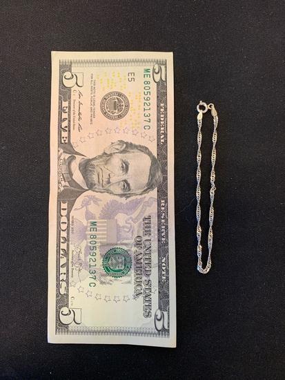 "FAS Italian Made 2.0mm Singapore Link 7"" Long Sterling Silver Bracelet"