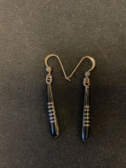 "Multi-Banded Onyx Inlaid 1.75"" Long Pair of Sterling Silver Drop Earrings"