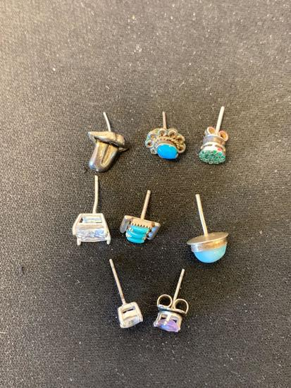 Lot of Eight Mostly Gemstone Accented Various Size & Style Single Mismatched Sterling Silver Stud
