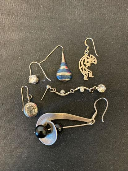 Lot of Six Sterling Silver Various Size & Style Single Mismatched Drop Earrings