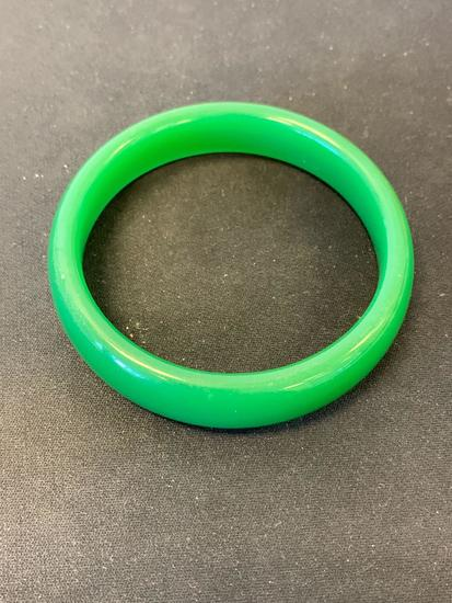 "Green Jade 16mm Wide 3.5"" Diameter Solid Bangle Bracelet"