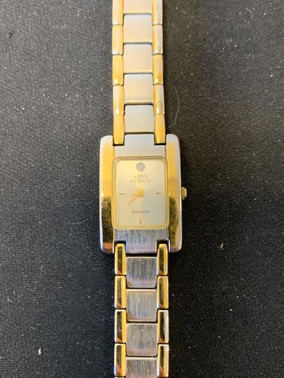 Anne Klein Designed Rectangular 27x18mm Diamond Accented Face Stainless Steel Watch w/ Bracelet