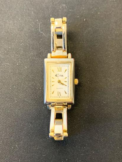 Couture Designed Rectangular 28x18mm Two-Tone Stainless Steel Watch w/ Bracelet