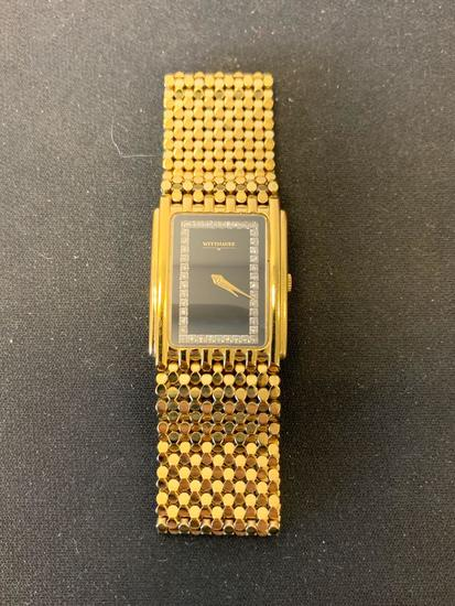 Wittnauer Designed Rectangular 33x25mm Rhinestone Framed Face Gold-Tone Stainless Steel Watch w/