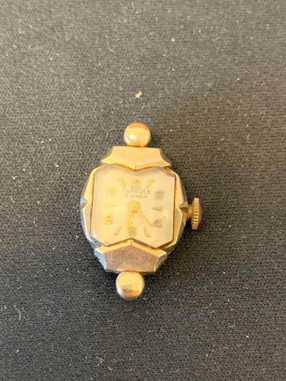 Aureole Designed Rectangular 20x16mm 10Kt Rolled Gold Plated Bezel Loose Vintage Watch w/o Bracelet