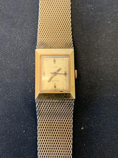 Timex Designed Rectangular 24x18mm Bezel Gold-Tone Stainless Steel Watch w/ Bracelet