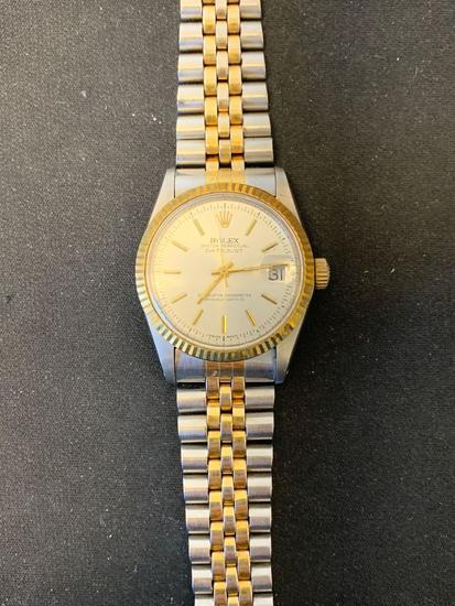 Faux Rolex Designed Round 35mm Bezel Two-Tone Stainless Steel Watch w/ Bracelet