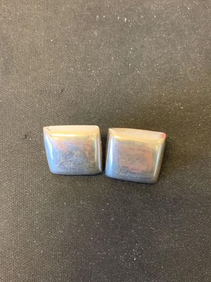 Mexican Made Square Cushion 23mm Pair of Sterling Silver Earrings