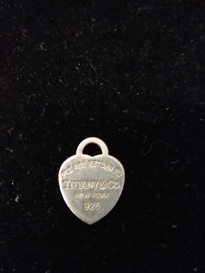 """Tiffany & Co Designed 1"""" Long Sterling Silver Heart Tag Pendant"""