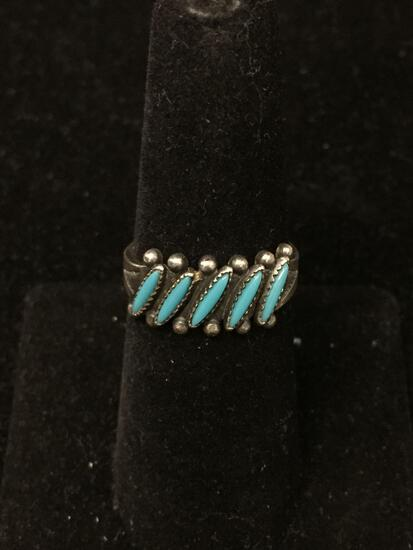 Five Thin Matched Turquoise Cabochons Old Pawn Native American Style Sterling Silver Ring Band-Size