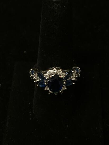 Oval Faceted 9x7mm Created Blue Sapphire Center w/ White Zircon Halo & Marquise Sapphire Sides