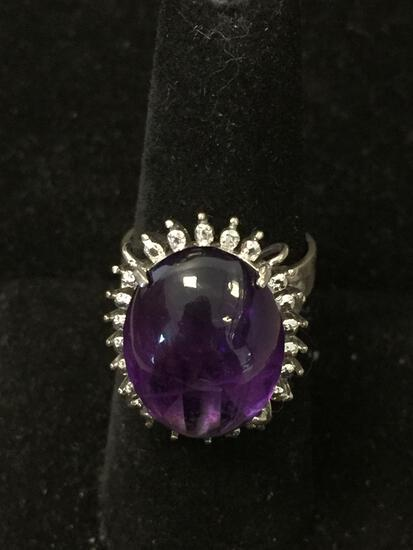 Large 19x14mm Oval Amethyst Cabochon w/ Bead Style Halo Sterling Silver Cocktail Ring Band-Size 7