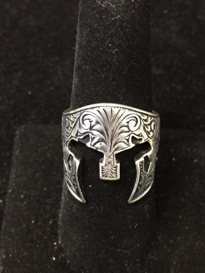 Detailed Antique Finished Filigree Engraved Tribal Decorated 22mm Wide Tapered Sterling Silver Ring
