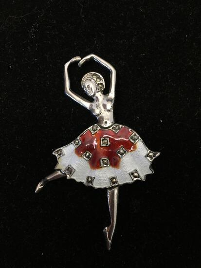 Marcasite & Cloisonn? Detailed 2.5in Tall Dancing Ballerina Style Sterling Silver Brooch