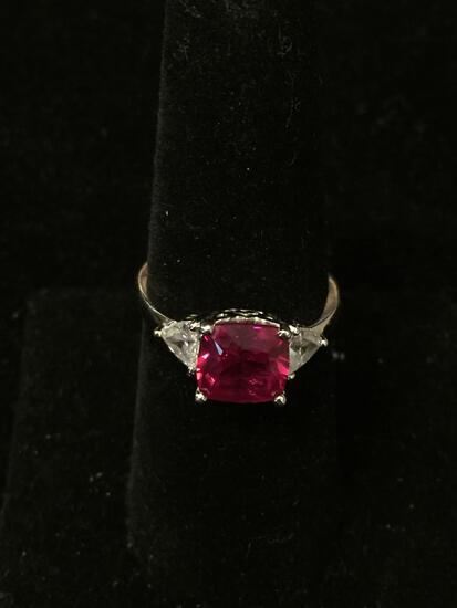 Cushion Faceted 8x8mm Rubellite Center w/ Trillion 4m White Zircon Sides Sterling Silver Three Stone