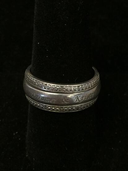 BGE Designed Diamond Accented 9mm Wide Dreamer & Heart Motif Sterling Silver Spinner Band - Size 9