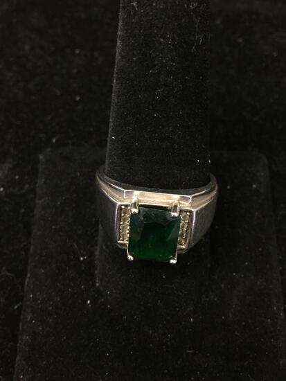Rectangular Brilliant Faceted 10x8mm Green Spinel Center w/ Zircon Sides Sterling Silver Ring