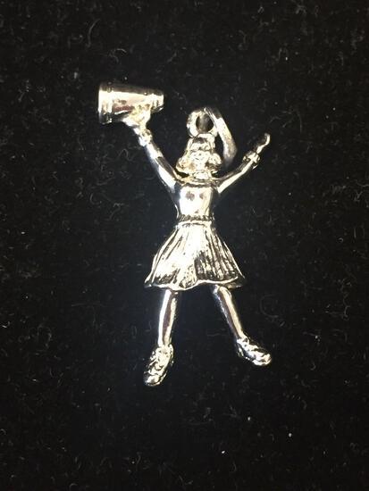 Prep Cheerleader Sterling Silver Charm Pendant