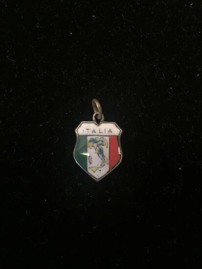 800 Sterling Silver Vintage ITALIA Crest Charm Pendant