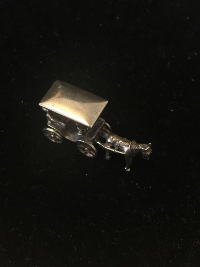 Large Gold Washed Horse Buggy Carriage Sterling Silver Charm Pendant
