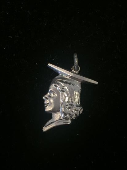 Designer Woman Graduation Sterling Silver Charm Pendant