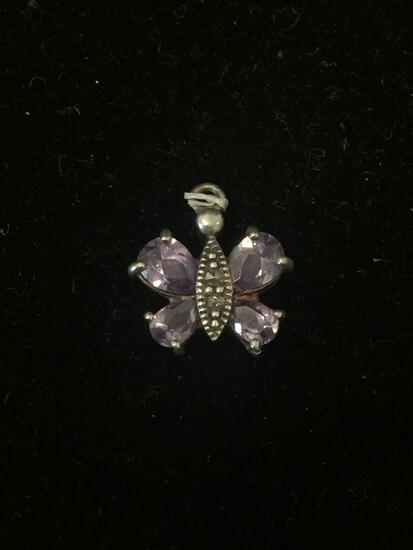 Marcasite & Amethyst Butterfly Sterling Silver Charm Pendant