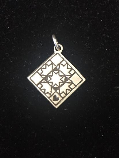 PM Sterling Silver Square Design Sterling Silver Charm Pendant