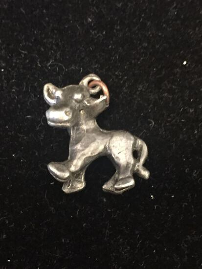 Cartoonish Style Cow Bull Sterling Silver Charm Pendant