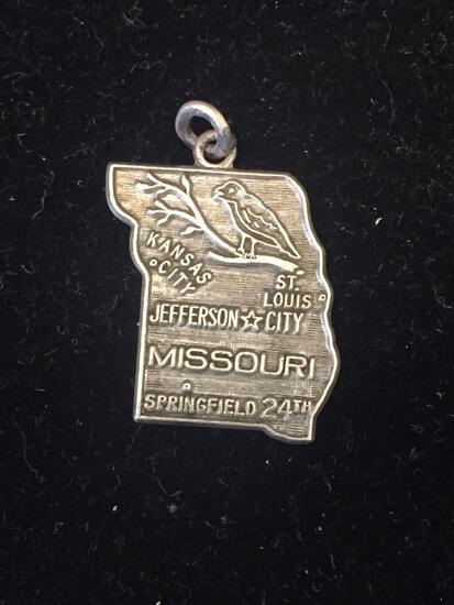 Vintage Missouri State Outline Sterling Silver Charm Pendant