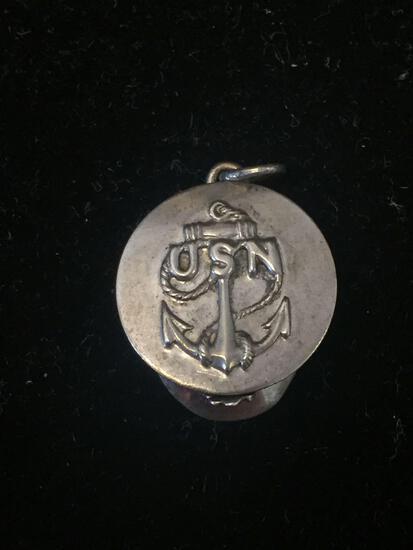 Rare Vintage USN US Navy Sailor Cap Sterling Silver Charm Pendant