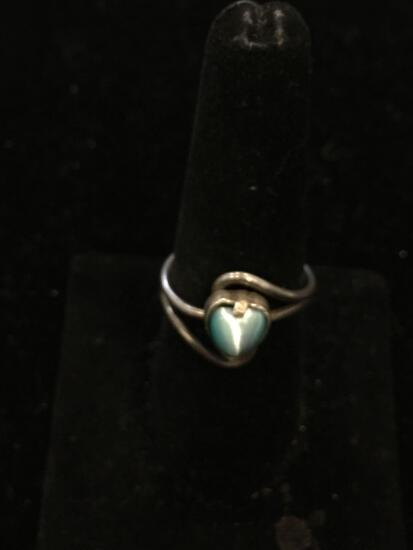 Mexican Made Heart Fashioned 7mm Blue Cat's Eye Cabochon 15mm Wide Bypass Ribbon Sterling Silver