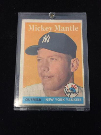 1958 Topps #150 Mickey Mantle Yankees Vintage Baseball Card