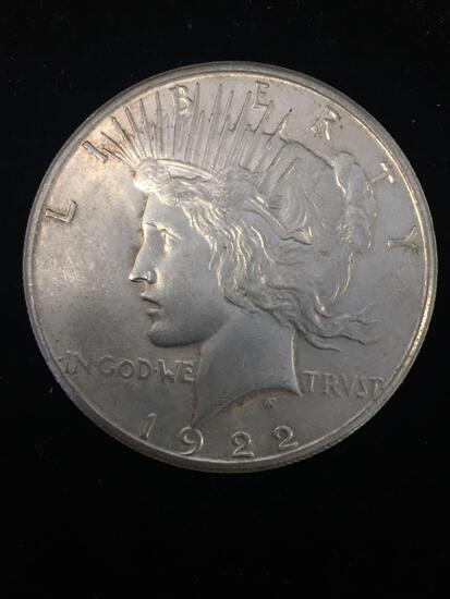 1922-S United States Peace Silver Dollar - 90% Silver Coin - AU Uncirculated Condition