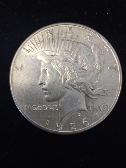 1926-S United States Peace Silver Dollar - 90% Silver Coin - AU Uncirculated Condition