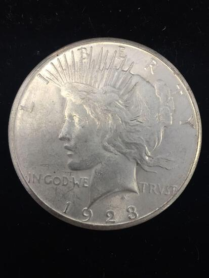 1923-S United States Peace Silver Dollar - 90% Silver Coin - AU Uncirculated Condition