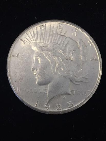 1925-S United States Peace Silver Dollar - 90% Silver Coin - AU Uncirculated Condition