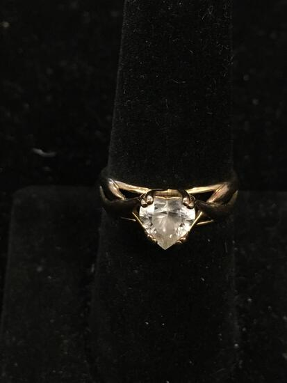 Heart Faceted 7mm Zircon Center Braided Trellis Design Gold-Tone Sterling Silver Ring Band-Size 7