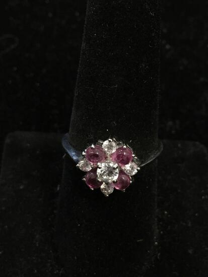 Four Pink Sapphire Cabochons w/ Five Round Faceted Zircon Cluster Sterling Silver Ring Band-Size 8