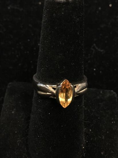 Semi-Bezel Set 10x5mm Marquise Faceted Peach Zircon Floral Accented Side Sterling Silver Ring