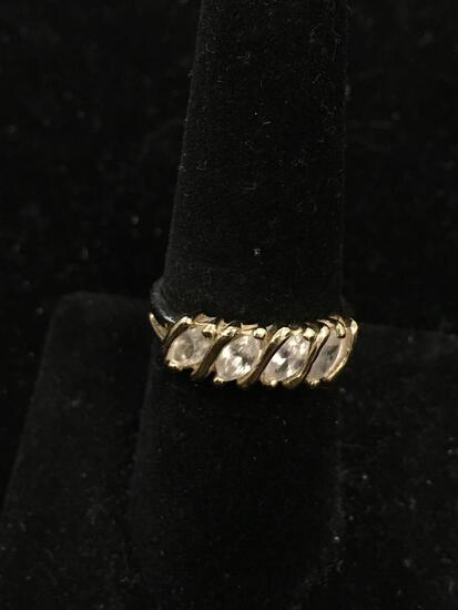 Four Diagonal Set 6x4mm Zircon Gold-Tone Sterling Silver Ring Band-Size 8