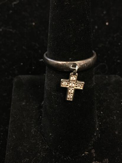 DSJ Designed 3.5mm Wide Tapered Sterling Silver Ring Band w/ Petite Cross Charm - Size 7