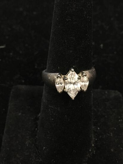 Marquise Faceted 9x5mm Zircon w/ Matched Marquise 5x3mm Sides Sterling Silver Three Stone Ring