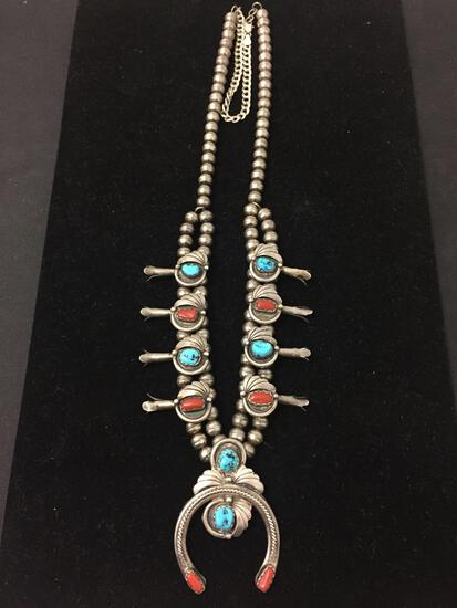 RARE K Martinez Sterling Silver Native American Squash Blossom Necklace W/ Turquoise & Coral - 82g