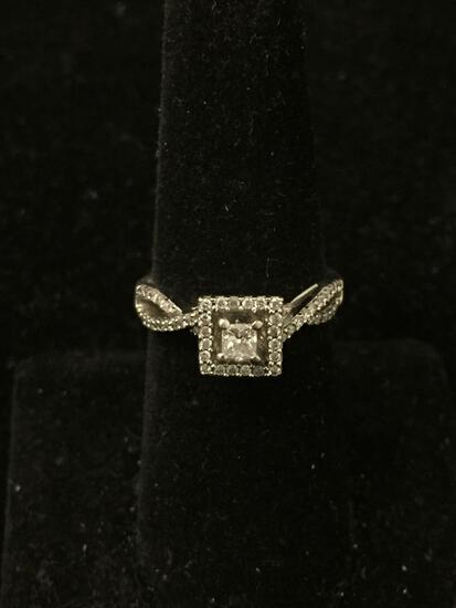 14K White Gold DIAMOND Engagement Ring Sz 6.25 - 3.8g