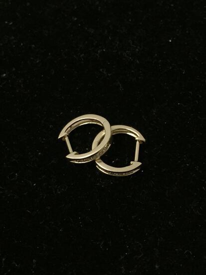 Beautiful 14K Yellow Gold & Diamond Lined Small Hoop Earrings - 1.6g