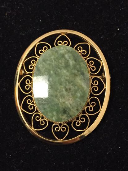 1/20th 12k Yellow Gold Filled Jade 1.5 Inch Brooch Pin