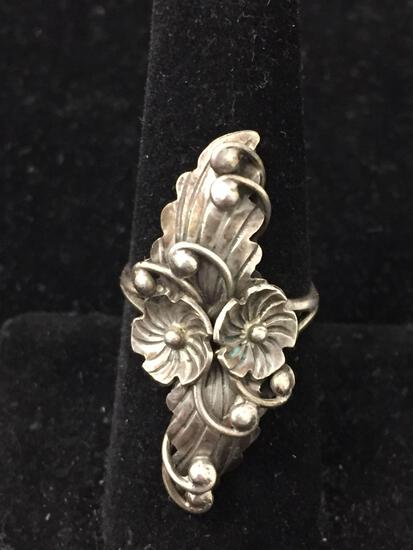 Artist Signed K Old Pawn Sterling Silver Leaf Ring Sz 7