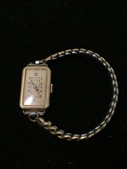 Illinois Elgin Yellow Gold Filled Wrist Watch RUNS